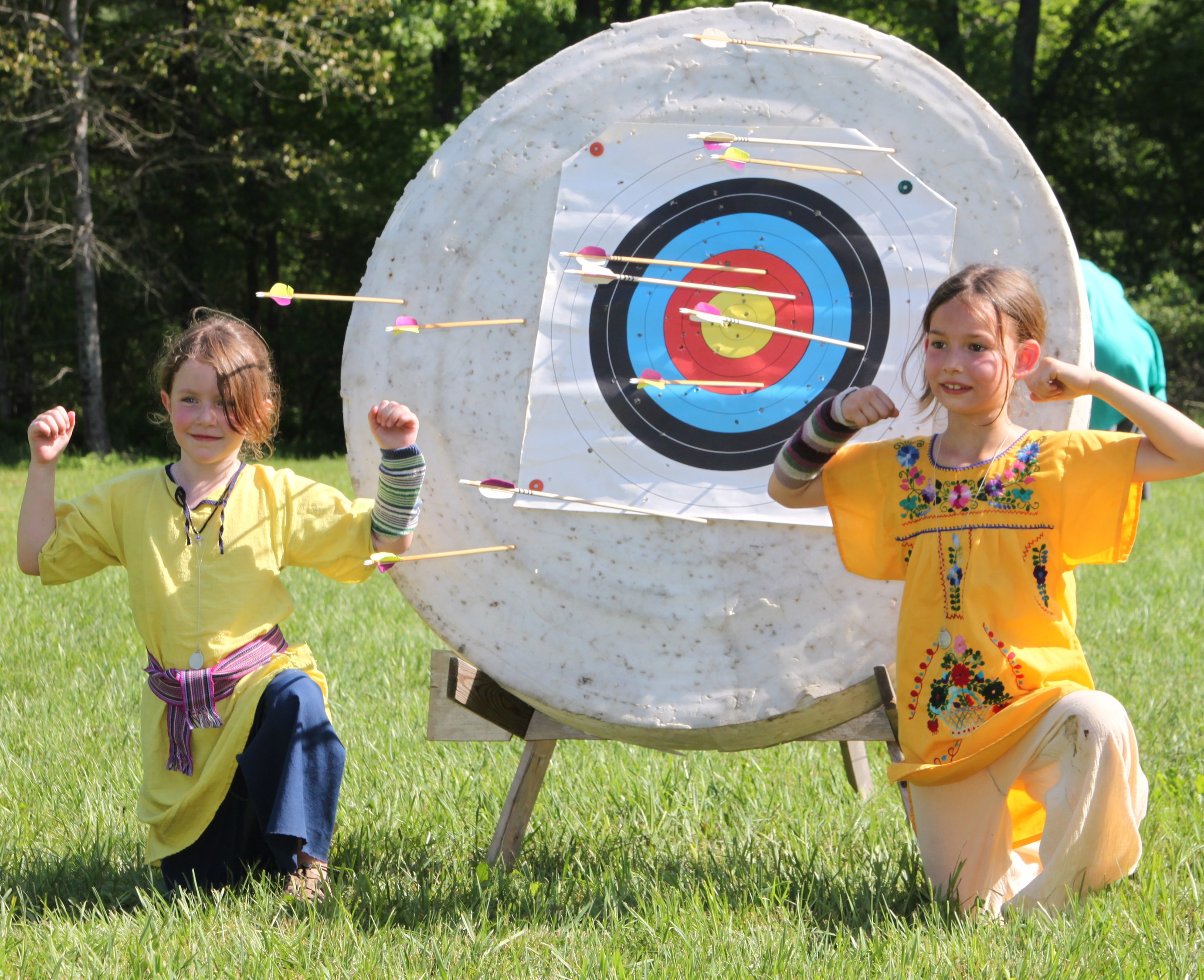 Young archers with target at Panteria 2012