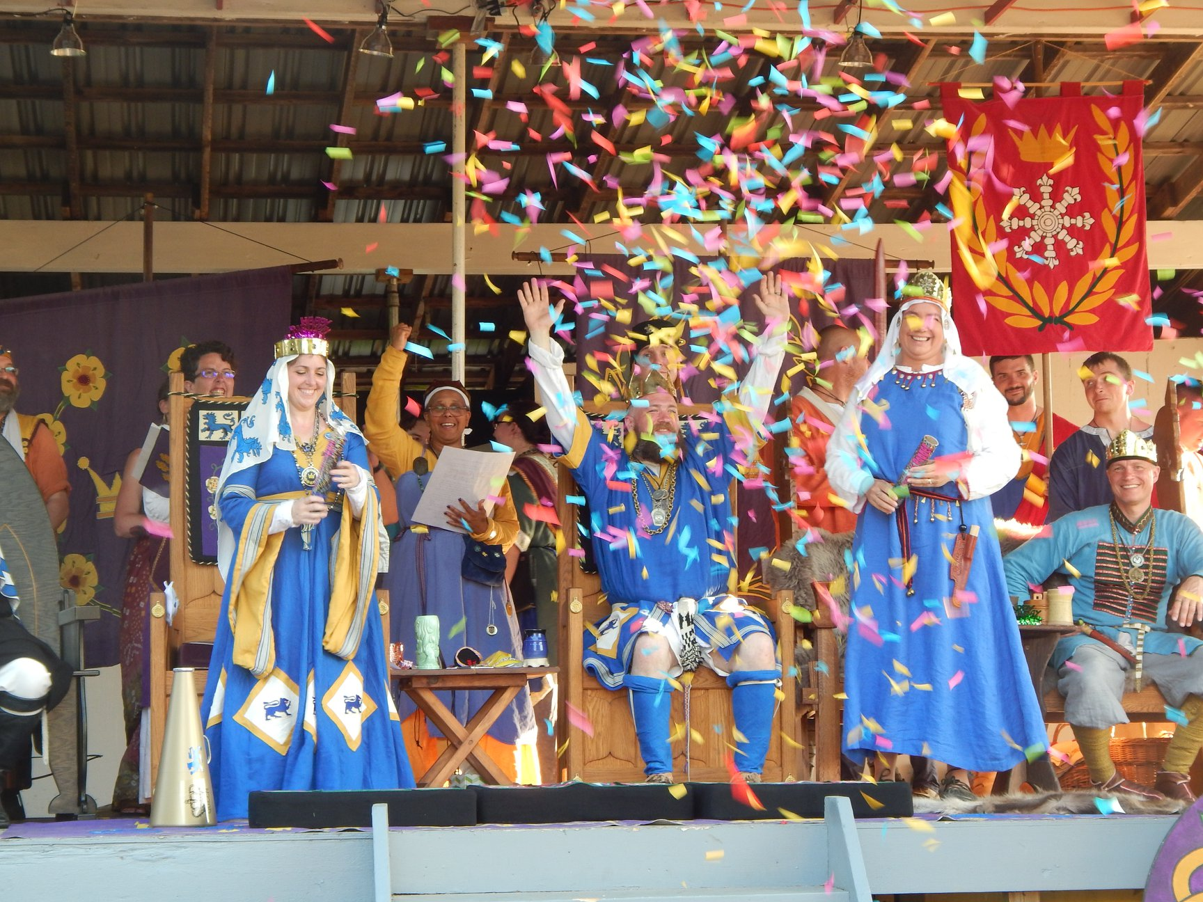 Royals throwing confetti at Pennsic 2018
