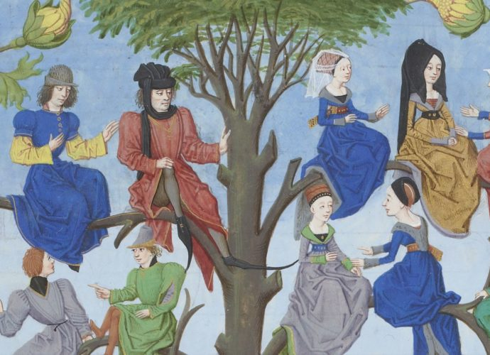 Medieval people sitting in a tree