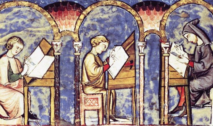 Monks in scriptorium