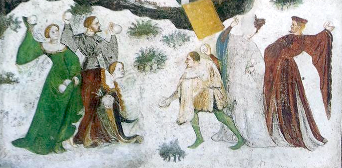 Snowball fight, Buonconsiglio castle, Trento