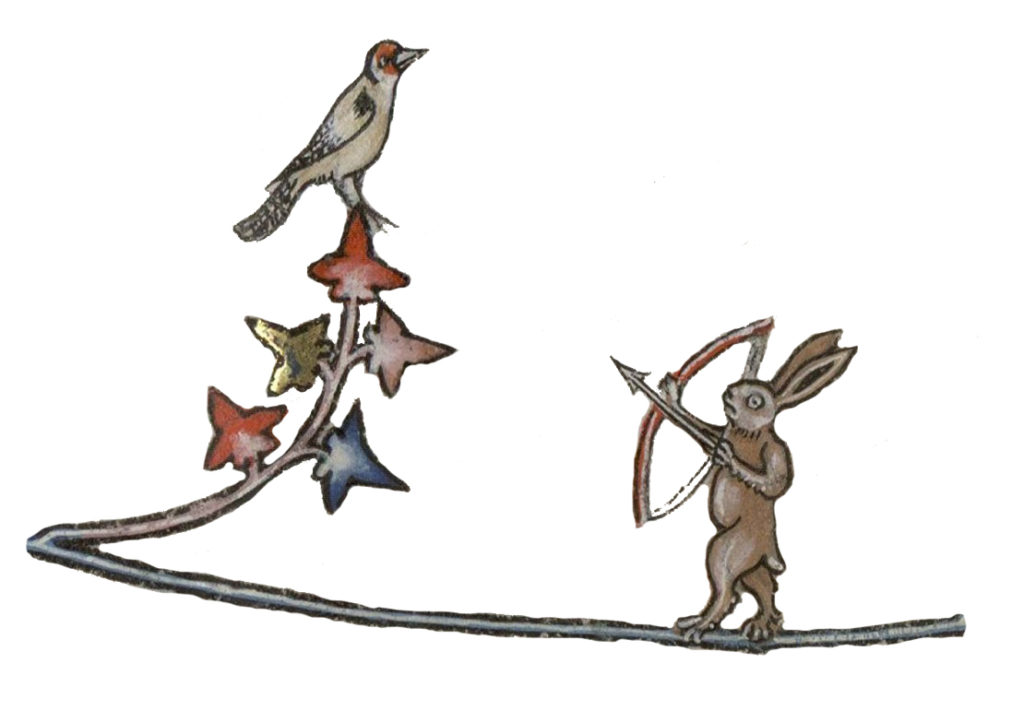 Medieval bird and rabbit